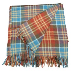 Vintage Blue and Orange Wool Plaid Throw