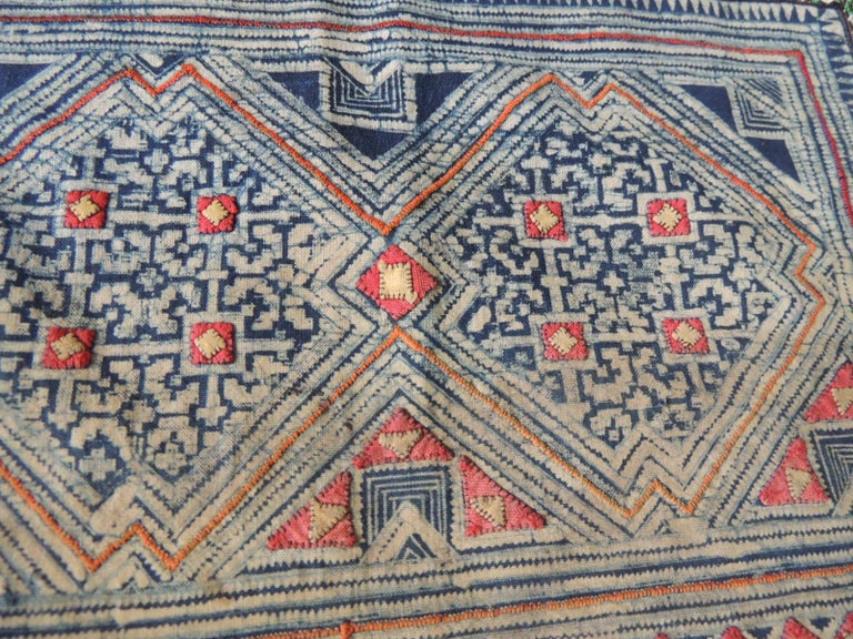 Tribal Vintage Blue and Red Miao Embroidered Textile Fragment For Sale