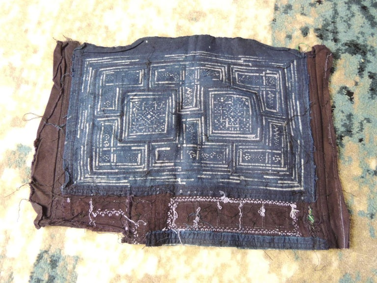 Chinese Vintage Blue and Red Miao Embroidered Textile Fragment For Sale