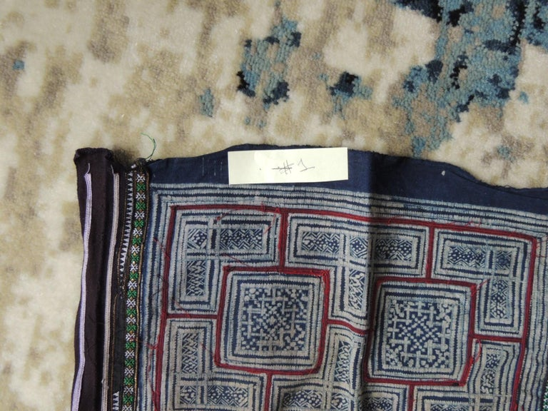 Hand-Crafted Vintage Blue and Red Miao Embroidered Textile Fragment For Sale