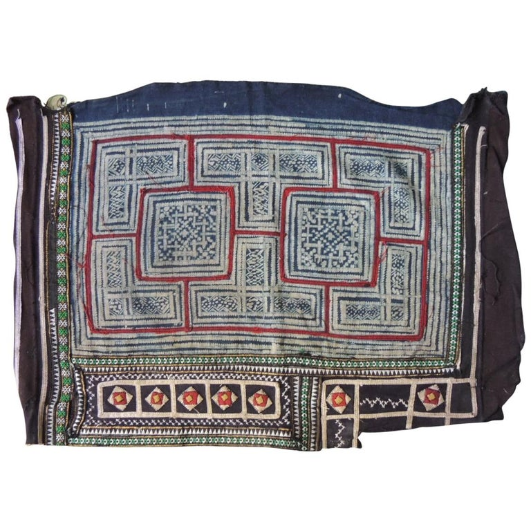 Vintage Blue and Red Miao Embroidered Textile Fragment For Sale