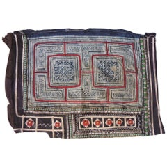 Vintage Blue and Red Miao Embroidered Textile Fragment