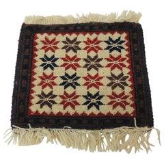 Vintage Blue and Red Star Pattern Turkish Rug Sample with Fringes
