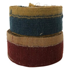 Vintage Blue and Rust Wool and Jute Tapestry Decorative Trims