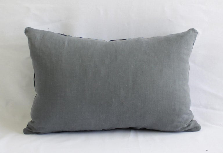 Vintage Blue and Tan Patchwork Style Pillow For Sale 6