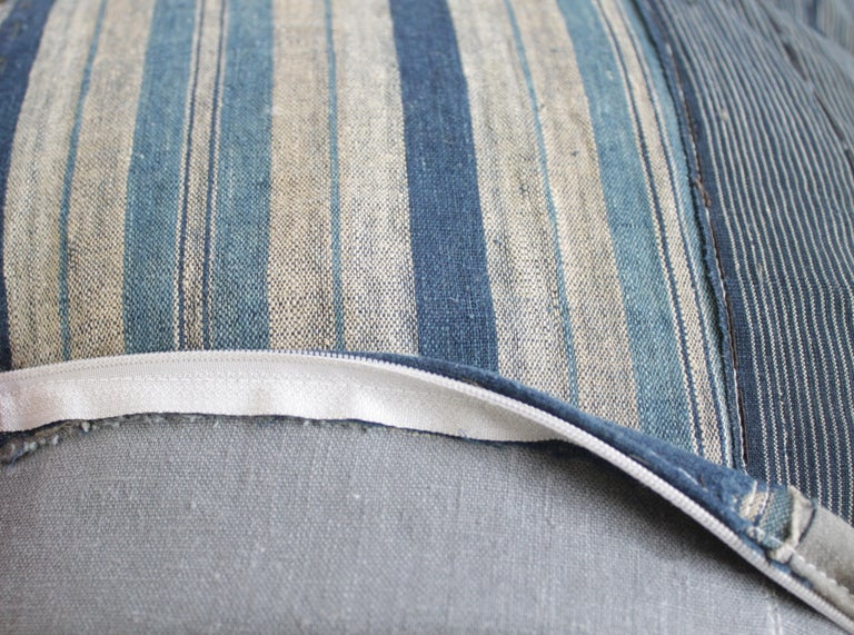 Vintage Blue and Tan Patchwork Style Pillow For Sale 8