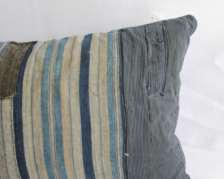 20th Century Vintage Blue and Tan Patchwork Style Pillow For Sale