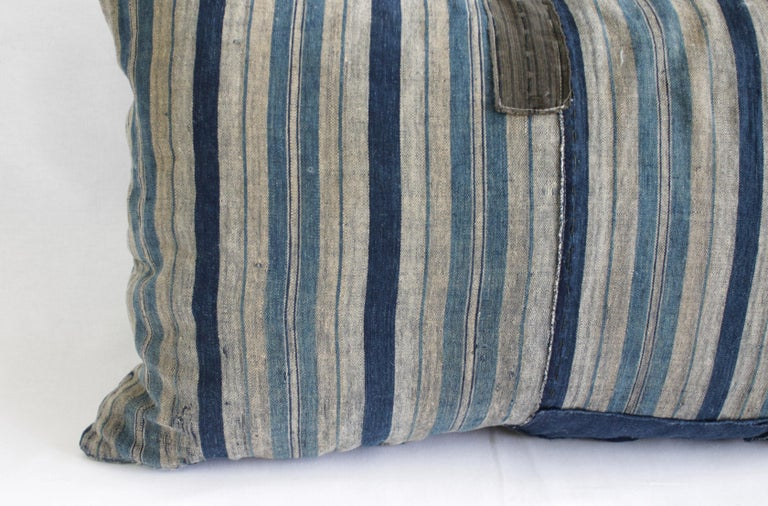 Cotton Vintage Blue and Tan Patchwork Style Pillow For Sale