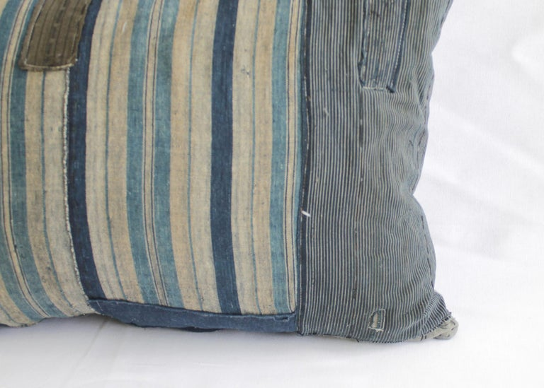 Vintage Blue and Tan Patchwork Style Pillow For Sale 1