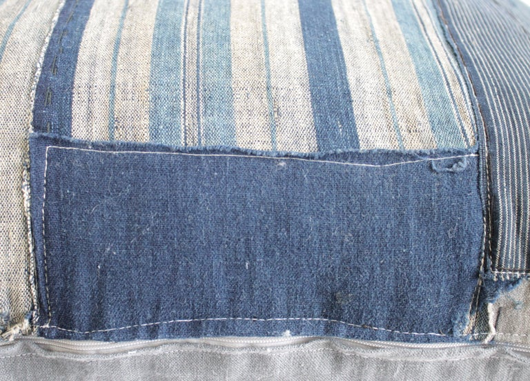 Vintage Blue and Tan Patchwork Style Pillow For Sale 3