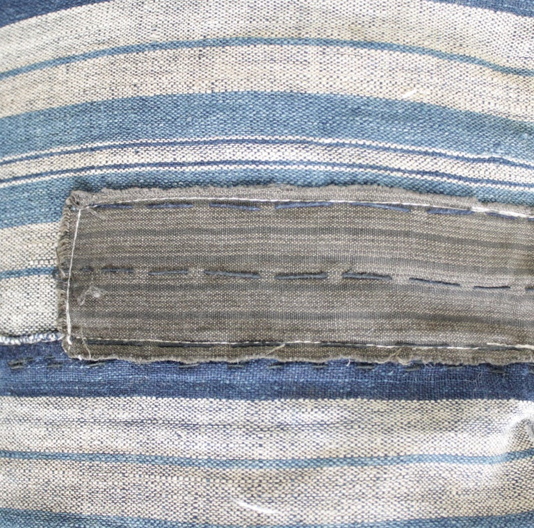 Vintage Blue and Tan Patchwork Style Pillow For Sale 4