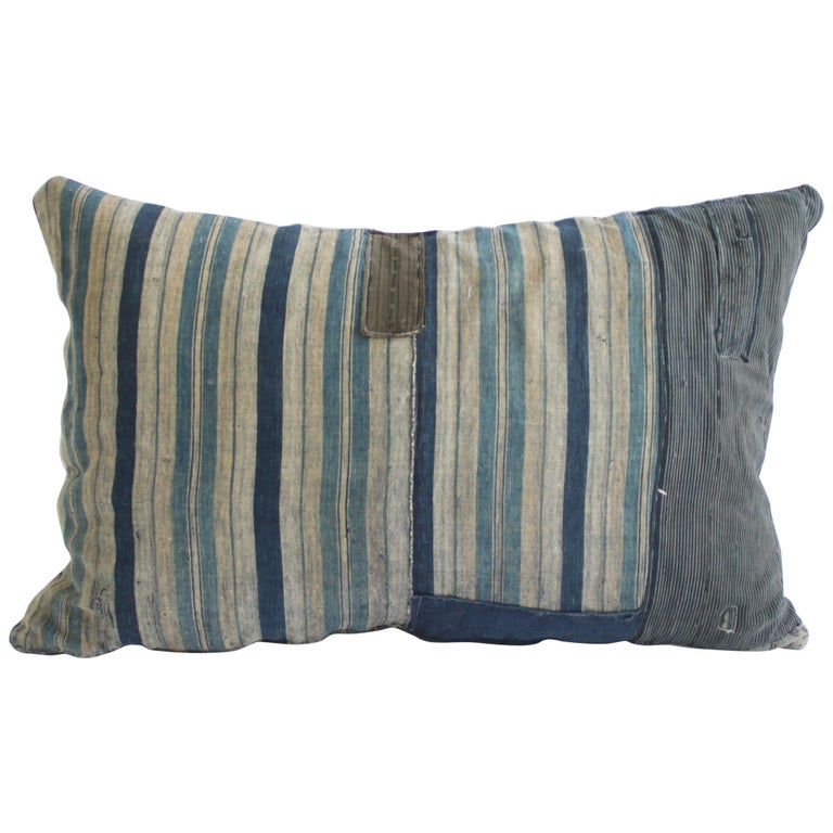 Vintage Blue and Tan Patchwork Style Pillow For Sale