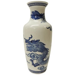 Vintage Blue and White Ceramic Asian Tall Vase