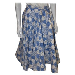 Vintage Blue and White Cotton Skirt
