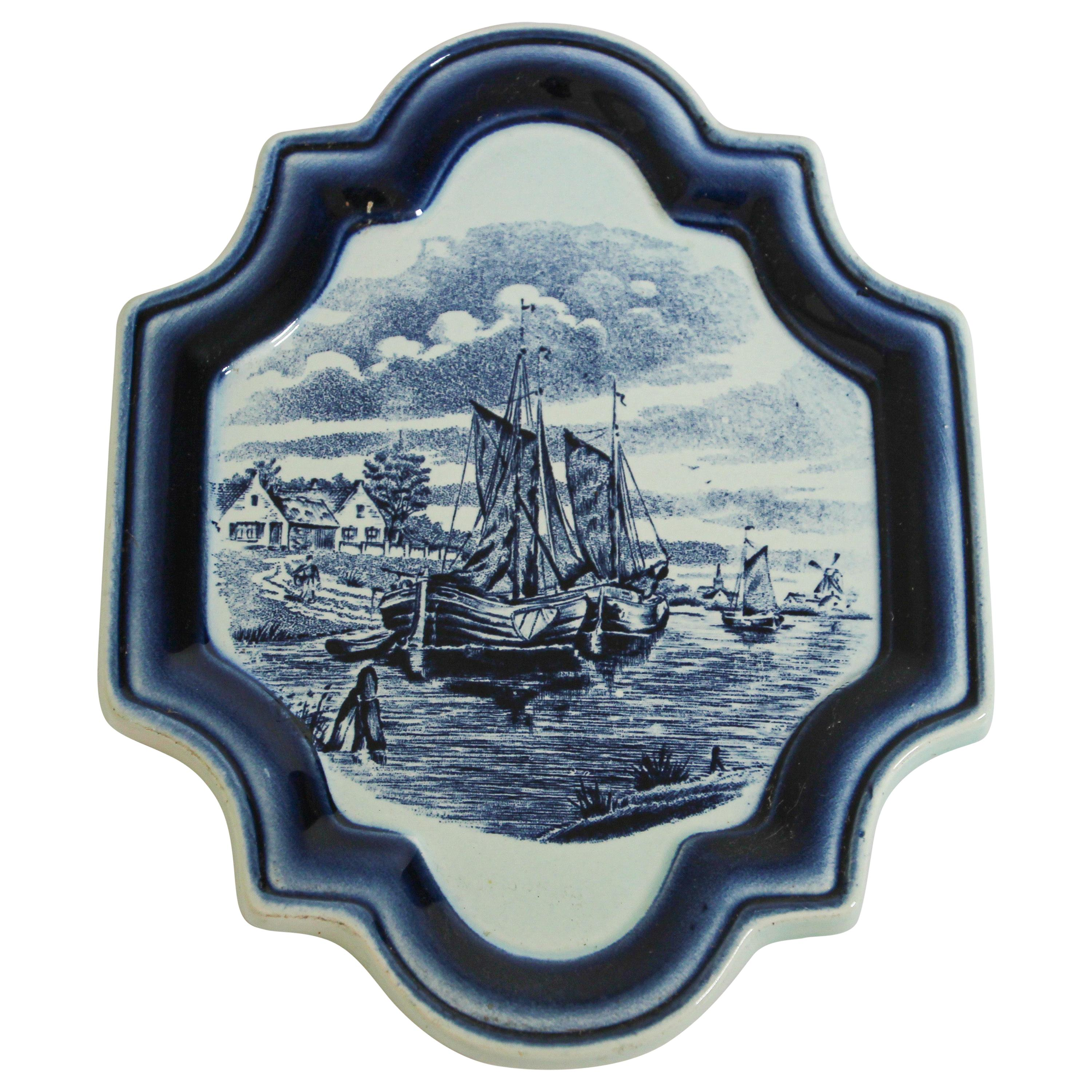 Vintage Blue and White Dutch Delft Pottery Wall Plaque