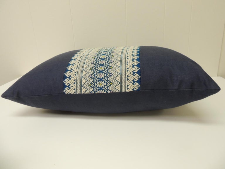Tribal Vintage Blue and White Embroidered Asian Decorative Lumbar Pillow For Sale
