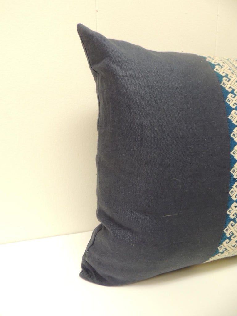 Laotian Vintage Blue and White Embroidered Asian Decorative Lumbar Pillow For Sale