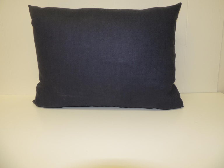 Hand-Crafted Vintage Blue and White Embroidered Asian Decorative Lumbar Pillow For Sale