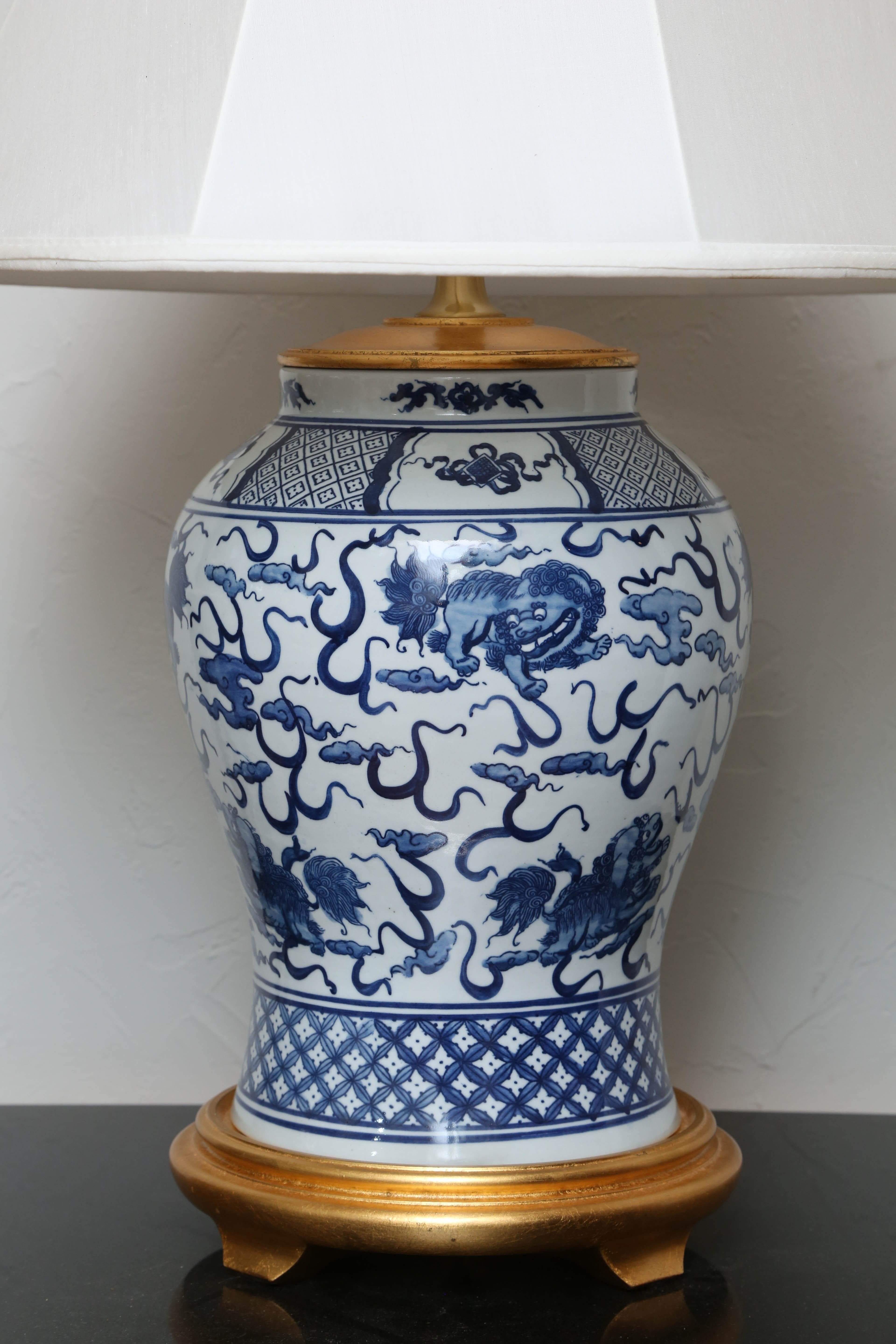 Vintage Blue And White Ginger Jar Lamp By Ralph Lauren At 1stdibs