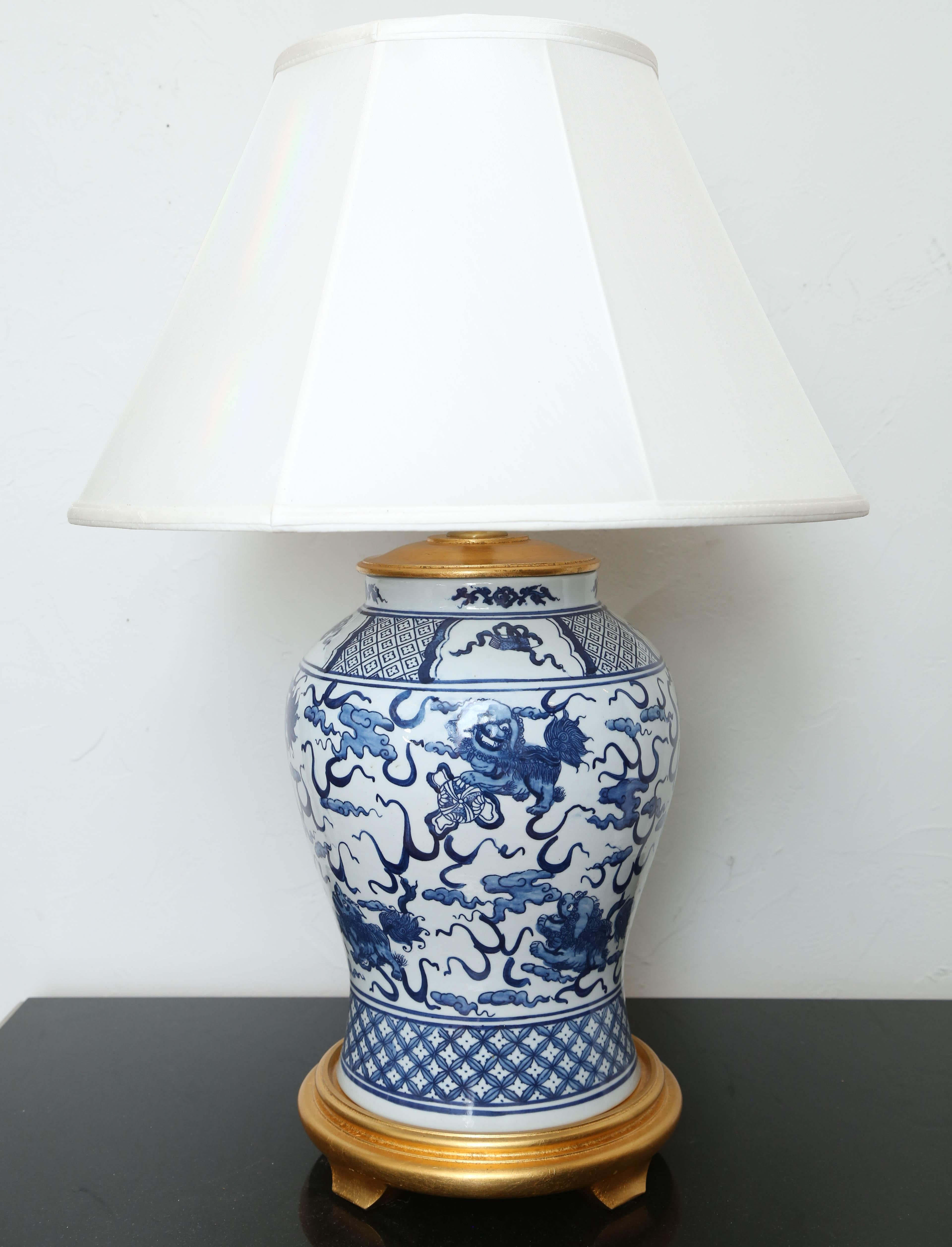 Vintage Blue And White Ginger Jar Lamp By Ralph Lauren At