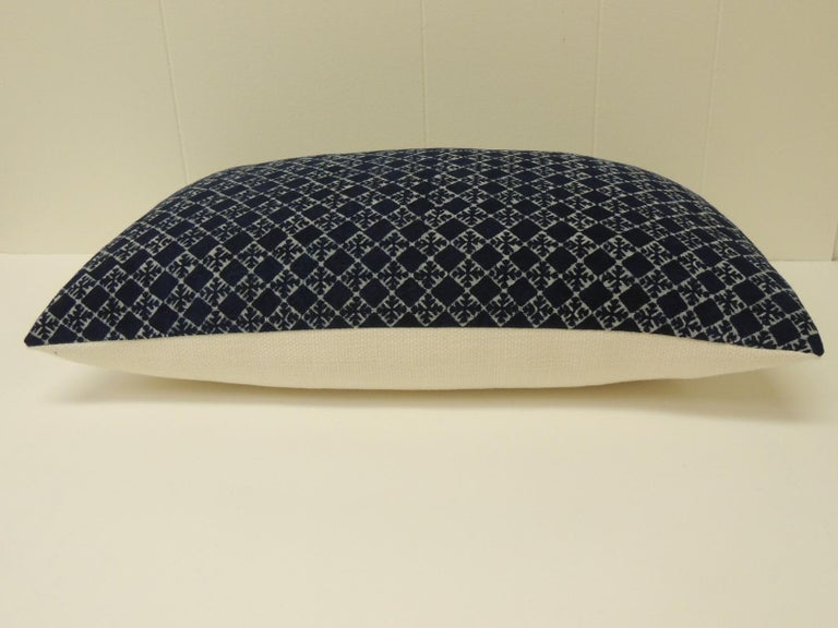 Tribal Vintage Blue and White Hand-Blocked Decorative Lumbar Pillow For Sale