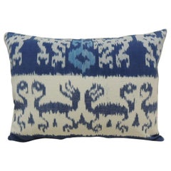 Vintage Blue and White Ikat Decorative Bolster Pillow