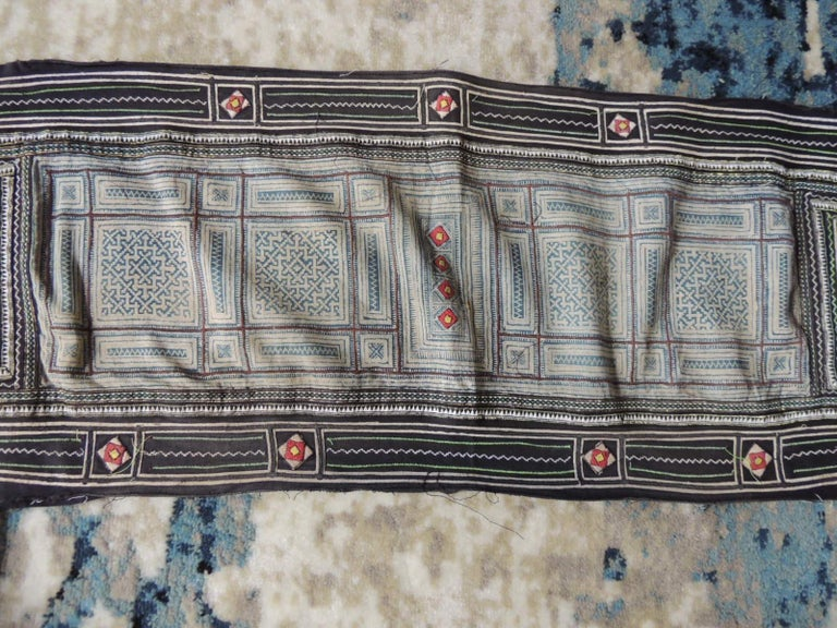 Tribal Vintage Blue and White Miao Embroidered Textile Panel For Sale