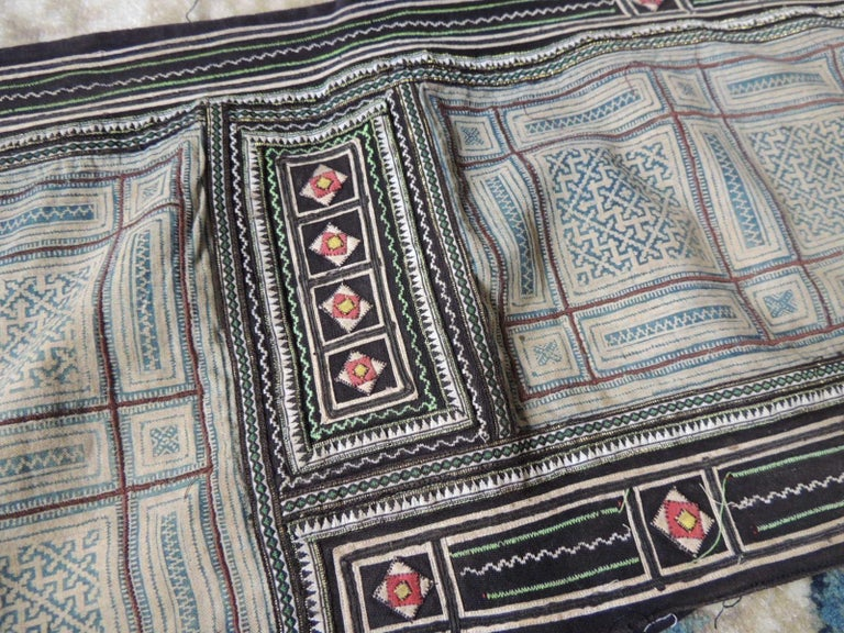Hand-Crafted Vintage Blue and White Miao Embroidered Textile Panel For Sale
