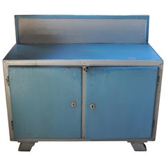 Vintage Blue and White Painted Cabinet