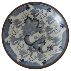 Vintage Blue and White Porcelain Dragon Dish