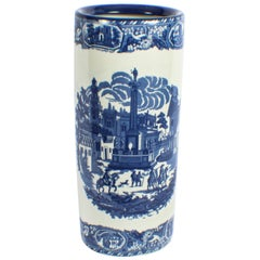 Vintage Blue and White Porcelain Umbrella Stick Stand, 20th Century