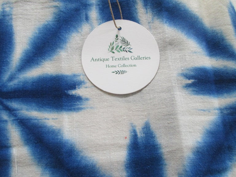 Hand-Crafted Vintage Blue and White Shibori Textile Fragment For Sale