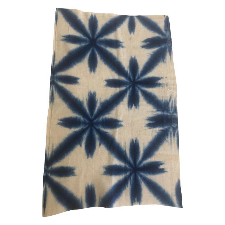 Vintage Blue and White Shibori Textile Fragment For Sale