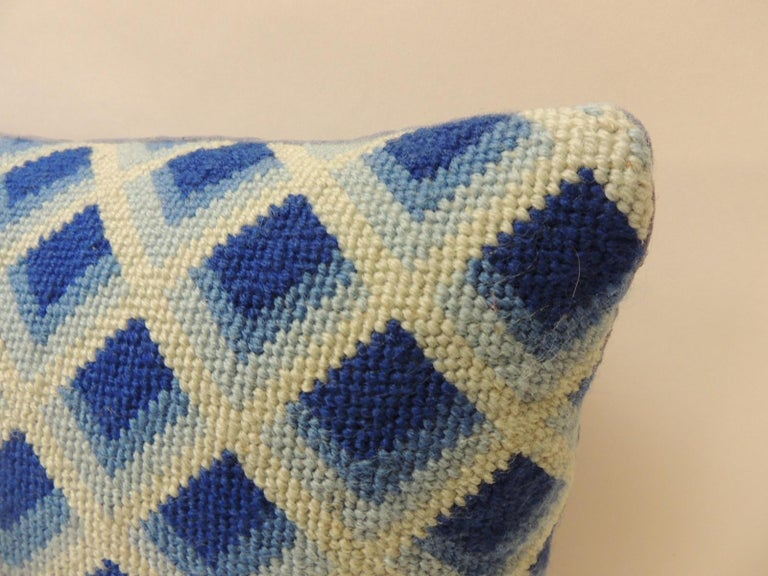 Mid-Century Modern Vintage Blue and White Tapestry Decorative Bolster Pillow For Sale