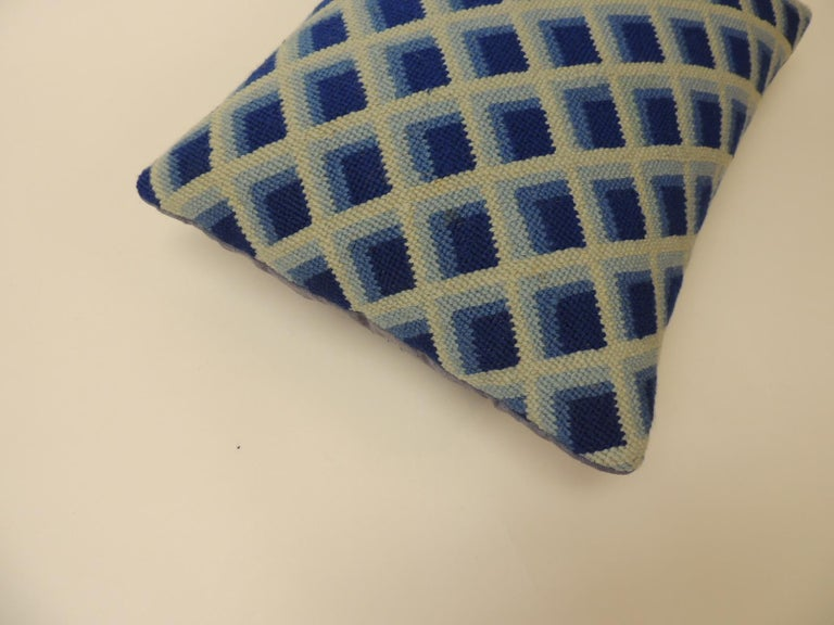 English Vintage Blue and White Tapestry Decorative Bolster Pillow For Sale