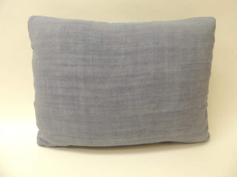 Hand-Crafted Vintage Blue and White Tapestry Decorative Bolster Pillow For Sale