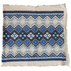 Vintage Blue and White Woven Tapestry Panel