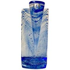 """Vintage Blue Art Glass Candleholder """"Ice Age"""" by Kjell Engman for Kosta Boda"""