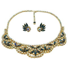 Vintage Blue & Aurora Borealis Crystal Demi Parure 1950s