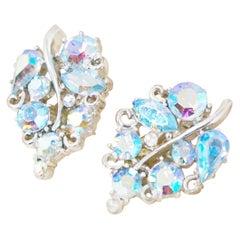 Vintage Blue Aurora Borealis Crystal Leaf Earrings by Lisner, 1950s