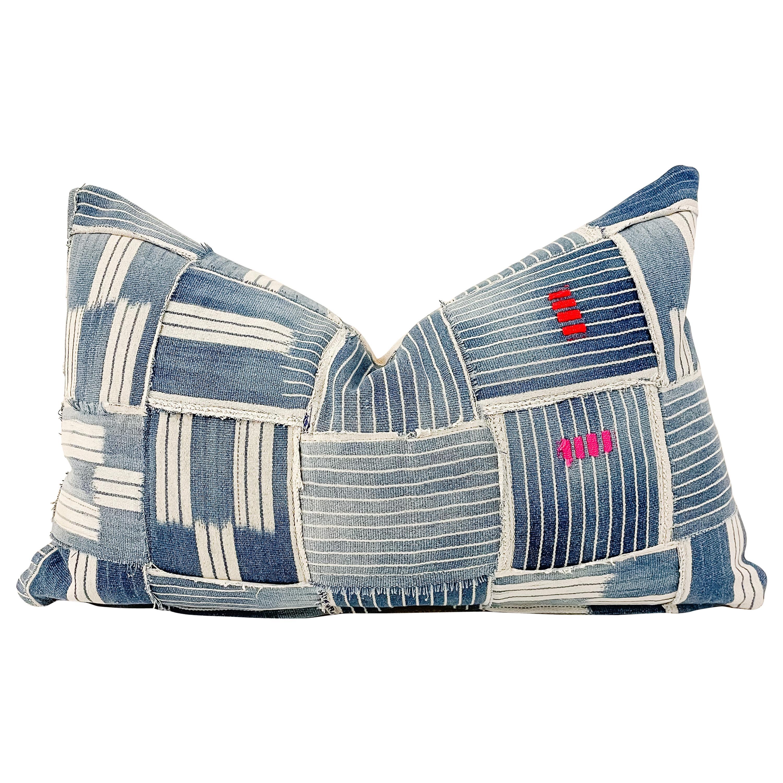 Vintage Blue Batik Basket Weave Accent Lumbar Pillow with Down Feather Insert