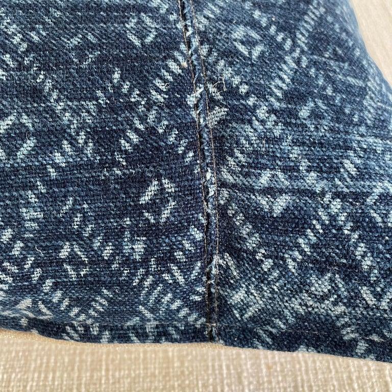 20th Century Vintage Blue Batik Lumbar Pillow For Sale