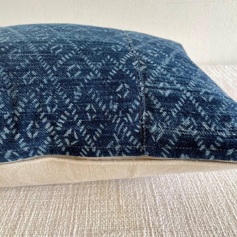 Cotton Vintage Blue Batik Lumbar Pillow For Sale