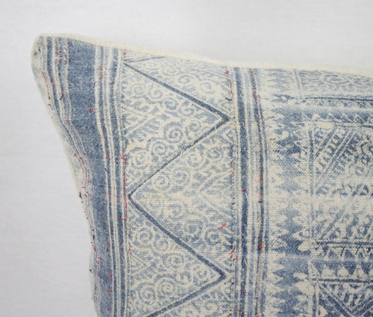 Vintage Blue Batik Style Pillow In Good Condition For Sale In Brea, CA