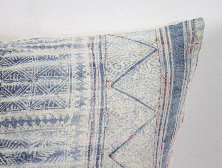 20th Century Vintage Blue Batik Style Pillow For Sale