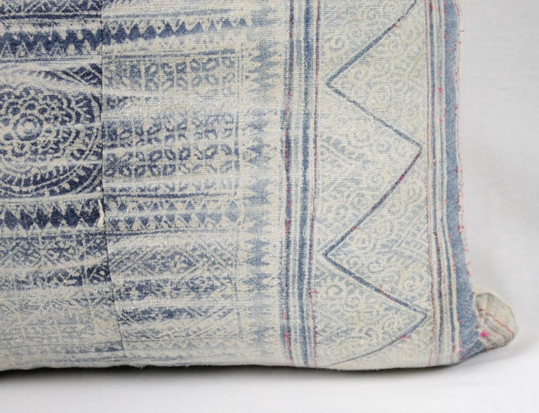 Cotton Vintage Blue Batik Style Pillow For Sale