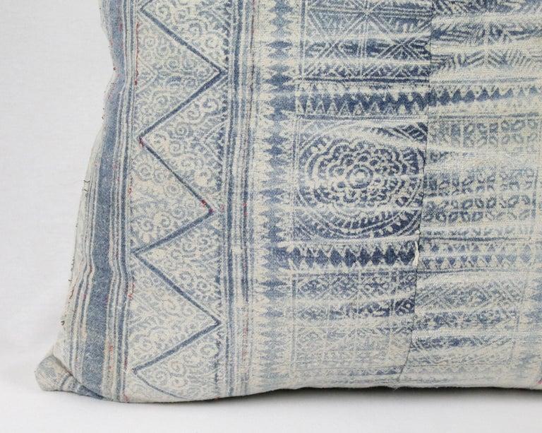 Vintage Blue Batik Style Pillow For Sale 1