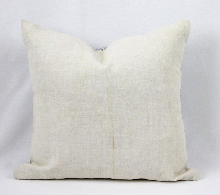 Vintage Blue Batik Style Pillow For Sale 2