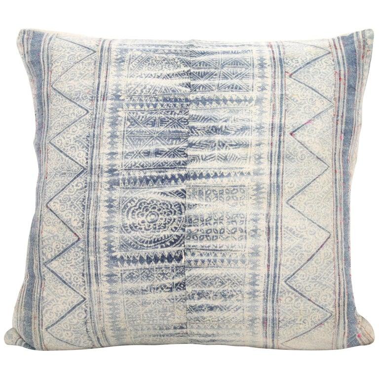 Vintage Blue Batik Style Pillow For Sale