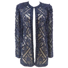 Vintage blue  beads see through jacket